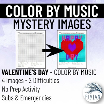 Color by Music: Mystery Image Valentine's Day (4 Images, 2 Difficulties)