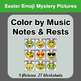 Color by Music Notes & Rests - Music Mystery Pictures - Ea