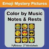 Color by Music Notes & Rests - Music Mystery Pictures - Emoji