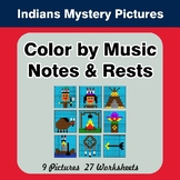 Color by Music Notes & Rests - Music Mystery Pictures - Native American Indians