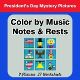 Color by Music Notes & Rests - Music Mystery Pictures - President's Day