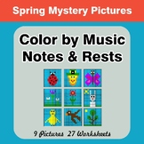Color by Music Notes & Rests - Music Mystery Pictures - Spring