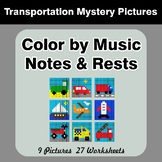 Color by Music Notes & Rests - Music Mystery Pictures - Tr