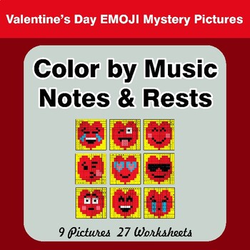 Color by Music Notes & Rests - Music Mystery Pictures - Valentine's Day  Emoji