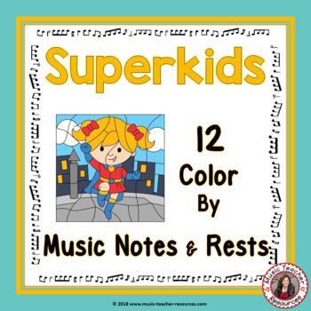 Color by Music Notes and Rests Superhero Theme