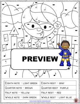 Color by Music Note: 12 Superhero Music Coloring Pages