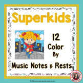 Music Coloring Sheets: 12 Superhero Color by Music Notes and Rests Pages