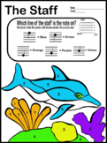 Color by Music- Staff Review (Dolphin) Music Worksheet