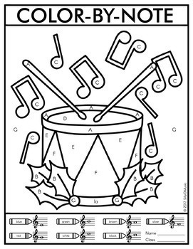 Christmas ColorbyNote Music Coloring Pages by SillyOMusic TpT