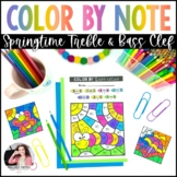 Color by Music for Spring: Treble and Bass Clef