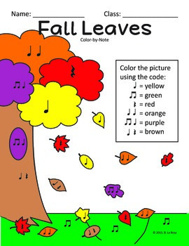 Color by Note - Fall Leaves - Rhythm (Quarter/Rest/Eighth Notes)