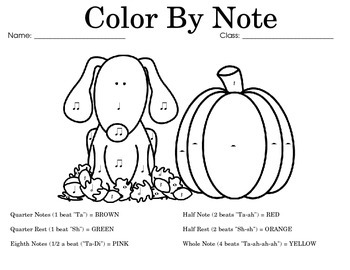 Color by Note: Fall (Takadimi Terms)