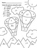Color by Note - Hot Air Balloon - Rhythm (Quarter/Eighth/H