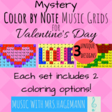 Color by Note Music Grids: Valentine's Day
