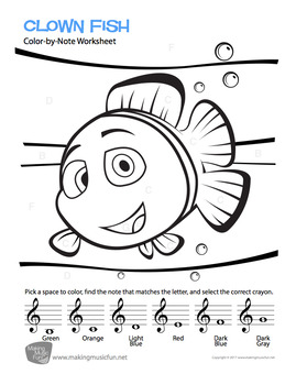 Color-by-Note | Treble Clef Note Names Worksheet Pack