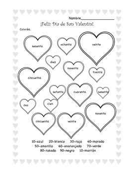 Color by Number 1-100 in Spanish for Valentine's Day
