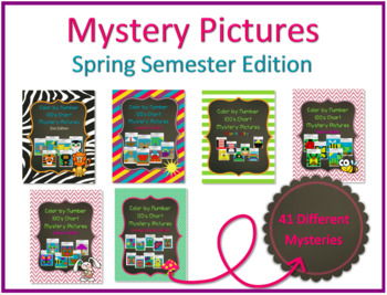 Color by Number 100 Chart Mystery Pictures: Spring Semester Edition