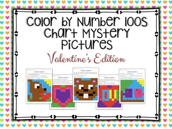 Color by Number 100 Chart Mystery Pictures: Valentine's Edition