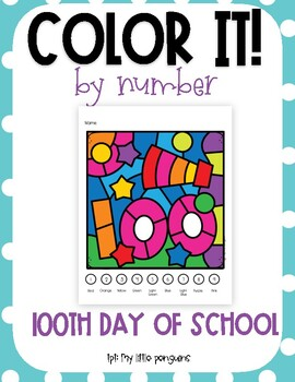 Color by Number: 100th Day of School
