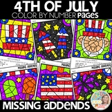 Color by Number 4TH OF JULY | missing addends | Math Worksheets