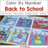 Back to School Color by Number with Number Sense and Addition
