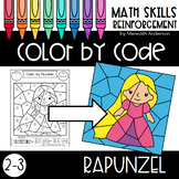 Color by Number Activities for Math - Rapunzel 2-3