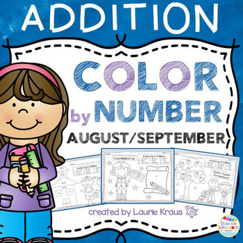 Color by Number Addition Facts August September