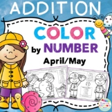 Color by Number Addition Facts April and May