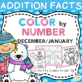 Color by Number Addition Facts December and January