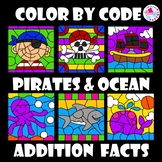 Color by Number Addition Facts Summer Ocean Set & Pirate S