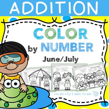 Color by Number Addition Facts June and July