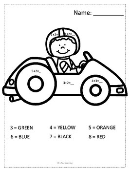 Color by Number : Addition (Race Car Theme)