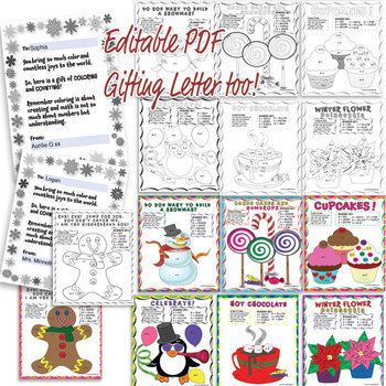 Color by Number Addition/ Subtraction Holiday Pack with gifting Editable PDF