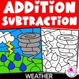 Weather Color by Number Addition Subtraction Spring Bundle