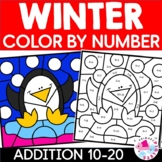 Color by Number Addition Winter 8 pages December January February Sums 10-20