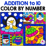 Color by Number Addition Winter December January February Sums to 10