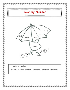 Color by Number Addition and Subtraction - FREE
