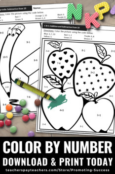Kindergarten Color by Number Addition and Subtraction to 10 SPS