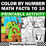 Color by Number Addition and Subtraction to 10 Worksheets SPS
