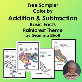 Color by Number Addition and Subtraction Rainforest Theme No Prep FREE SAMPLE