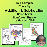 Color by Number Addition and Subtraction Rainforest Theme