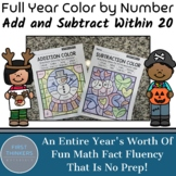 Full Year Bundle Color by Number Add and Subtract Within 20 Math Worksheets