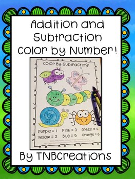 Color by Number Addition and Subtraction Worksheets