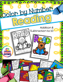 Color by Number Addition and Subtraction to 10 Reading Theme