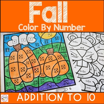 Fall Color By Number Addition by PrintablePrompts | TpT