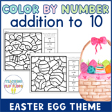 Color by Number -- Addition within 10 -- Easter