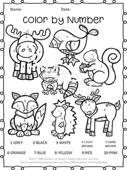 Color by Number Worksheets Animals and Insects