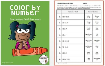Color by Number BUNDLE:  Operations with Decimals, Operations with Integers, etc