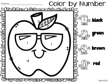 Color by Number: Back to School Set 2
