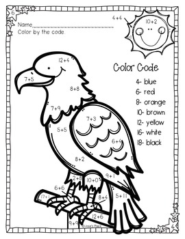 Color by Number Bald Eagle FREEBIES *Two  levels to choose from*